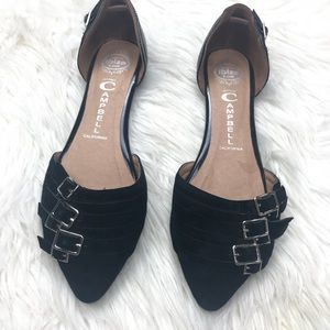 Jeffrey Campbell Taken Black Leather D'Orsay Flats